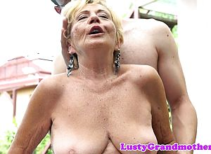 thick boobs,blonde,european,granny,outdoor