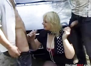 granny,mature,outdoor,threesome