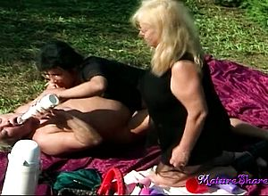blonde,brunette,granny,milf,outdoor,threesome