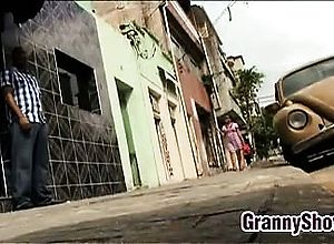 Blowjob,brunette,granny,interracial,latin
