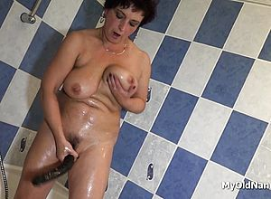 granny,masturbation,mature,shower,solo,toys