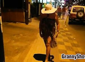 brunette,granny,outdoor,public,reality
