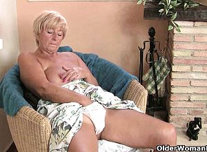 British,granny,lingerie,masturbation,stockings