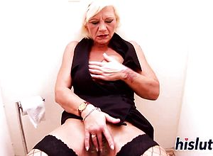 Blonde,blowjob,glory hole,granny,masturbation,stockings